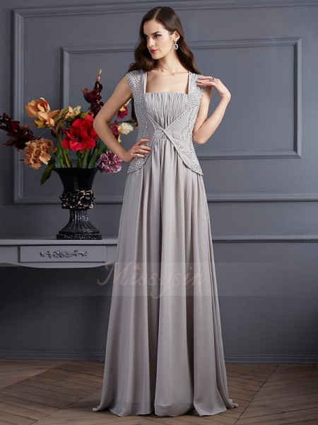 A-Line/Princess Square Sleeveless Floor-Length Grey Dresses