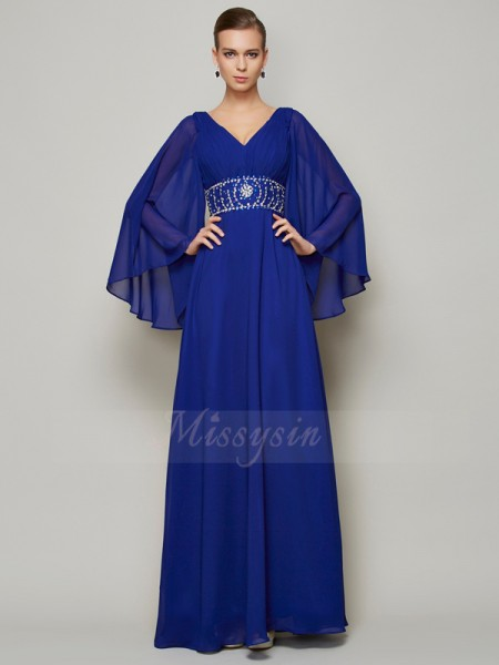 A-Line/Princess V-neck Long Sleeves Floor-Length Royal Blue Dresses