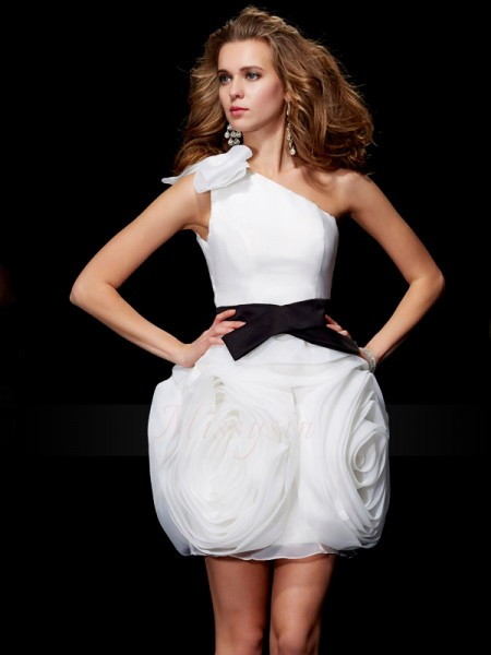 Sheath/Column One-Shoulder Sleeveless Short/Mini Ivory Dresses