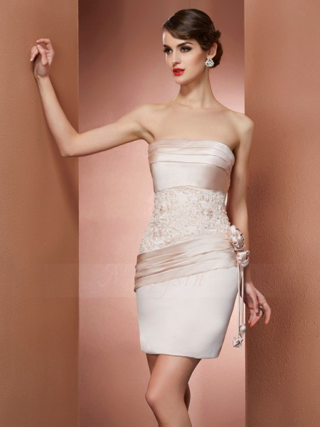 Sheath/Column Strapless Sleeveless Short/Mini Champagne Dresses