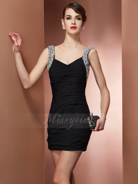 Sheath/Column Straps Sleeveless Short/Mini Black Dresses