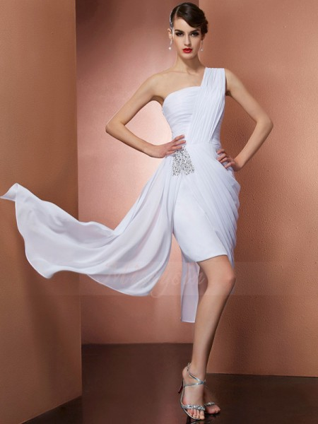 Sheath/Column One-Shoulder Sleeveless Short/Mini White Dresses