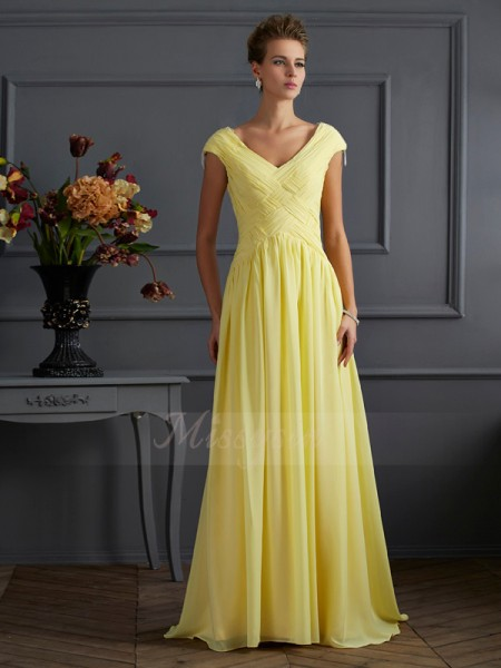 A-Line/Princess V-neck Short Sleeves Sweep/Brush Train Daffodil Dresses