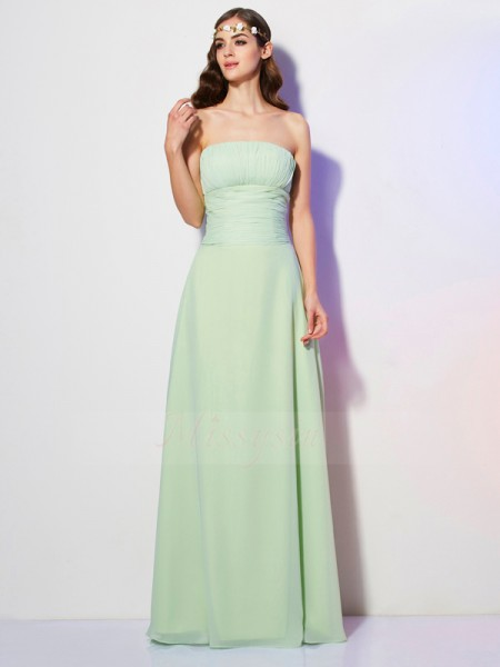 A-Line/Princess Strapless Sleeveless Floor-Length Sage Dresses