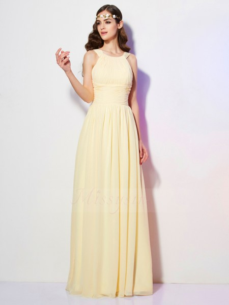 A-Line/Princess Bateau Sleeveless Floor-Length Daffodil Dresses
