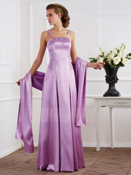 A-Line/Princess Spaghetti Straps Sleeveless Floor-Length Lilac Dresses