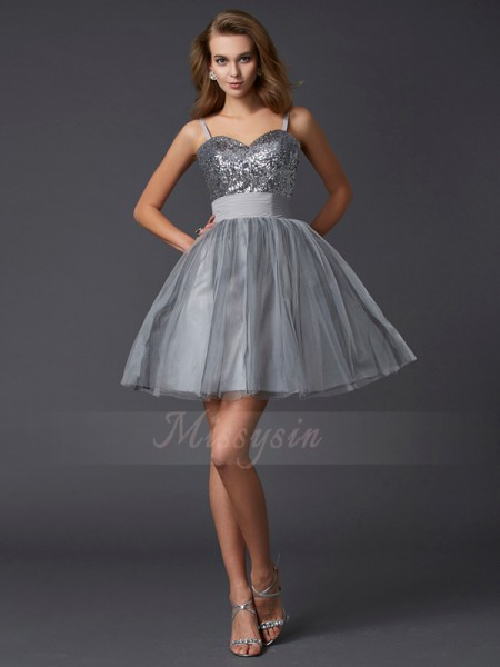 A-Line/Princess Spaghetti Straps Sleeveless Short/Mini Grey Dresses