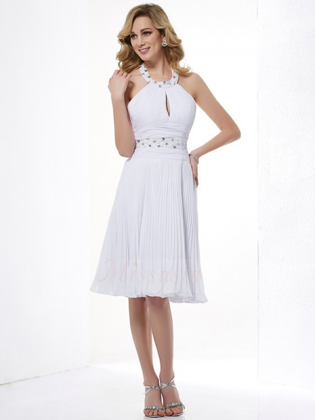 A-Line/Princess Halter Sleeveless Knee-Length White Dresses