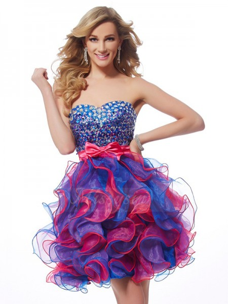 A-Line/Princess Sweetheart Sleeveless Short/Mini Fuchsia Royal Blue Dresses