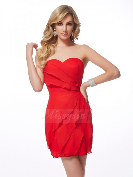 Sheath/Column Sweetheart Sleeveless Short/Mini Red Dresses