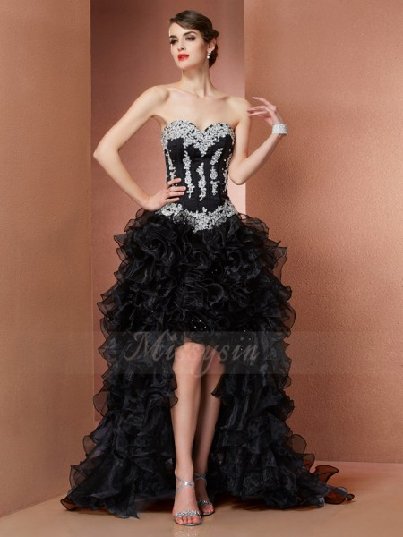 A-Line/Princess Sweetheart Sleeveless Asymmetrical Black Dresses