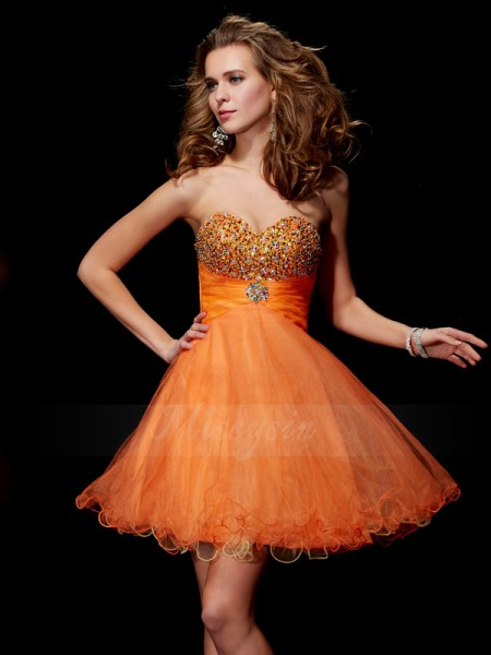 A-Line/Princess Strapless Sleeveless Short/Mini Orange Dresses