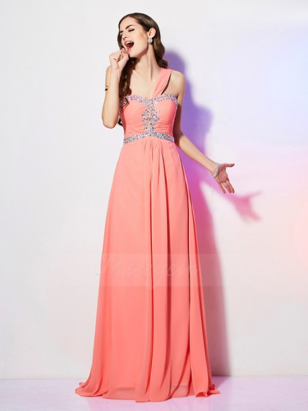 A-Line/Princess One-Shoulder Sleeveless Sweep/Brush Train Watermelon Dresses