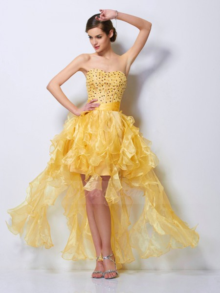 A-Line/Princess Sweetheart Sleeveless Asymmetrical Daffodil Dresses