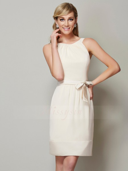 Sheath/Column Scoop Sleeveless Knee-Length Champagne Bridesmaid Dresses