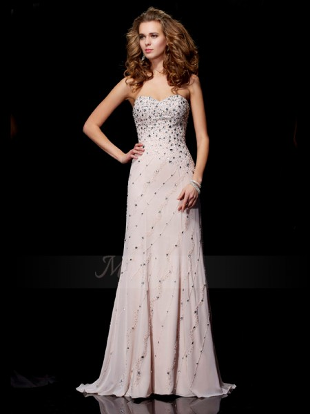 A-Line/Princess Sweetheart Sleeveless Sweep/Brush Train Pearl Pink Dresses