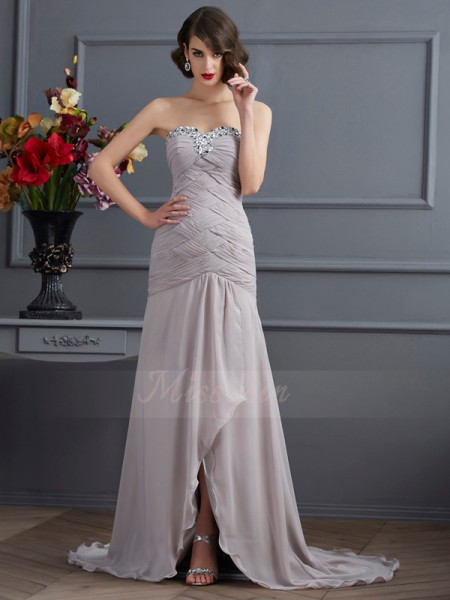 A-Line/Princess Sweetheart Sleeveless Sweep/Brush Train Silver Dresses