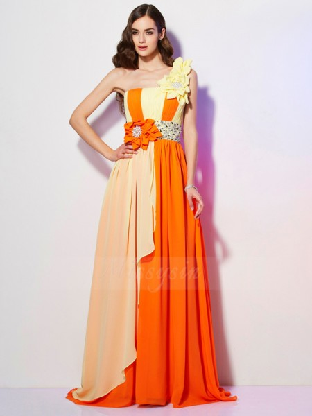 A-Line/Princess One-Shoulder Sleeveless Sweep/Brush Train Multi Colors Dresses