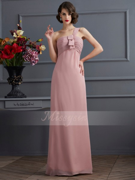 Sheath/Column One-Shoulder Sleeveless Floor-Length Pearl Pink Bridesmaid Dresses