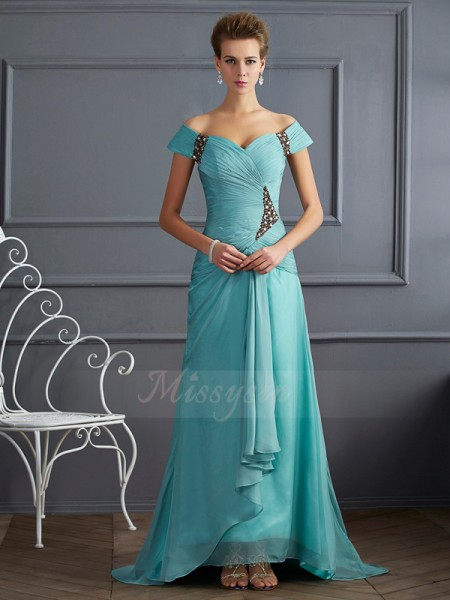 A-Line/Princess Off-the-Shoulder Sleeveless Sweep/Brush Train Blue Dresses