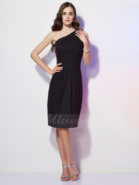 Sheath/Column One-Shoulder Sleeveless Knee-Length Black Dresses
