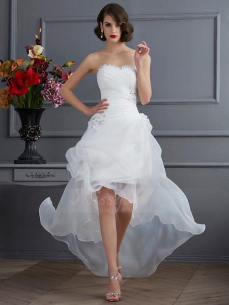 A-Line/Princess Sweetheart Sleeveless Asymmetrical White Wedding Dresses