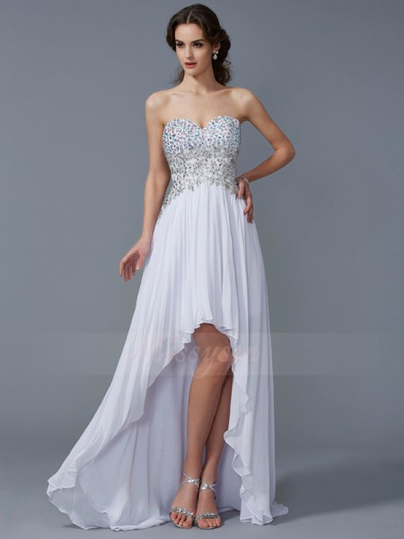 A-Line/Princess Sweetheart Sleeveless Asymmetrical White Dresses