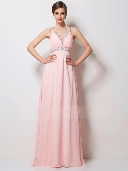 A-Line/Princess Halter Sleeveless Floor-Length Pink Dresses
