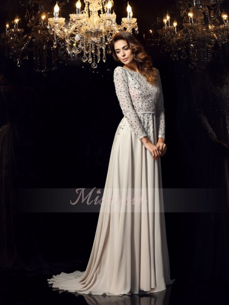 Long Sleeves Scoop Chiffon Court Train Grey Dresses