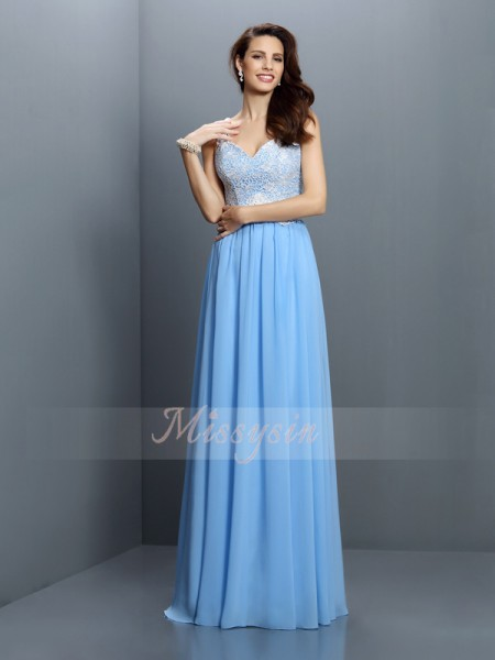 Sleeveless V-neck,Straps Chiffon Long Blue Bridesmaid Dresses