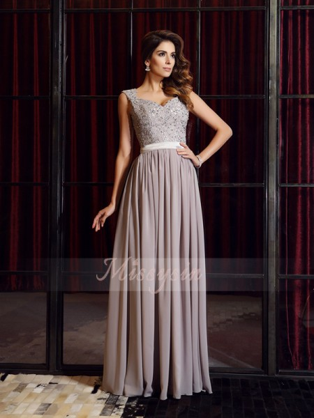 Sleeveless Straps Chiffon Long Grey Dresses