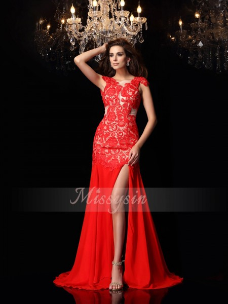 Sleeveless High Neck Chiffon Sweep/Brush Train Red Dresses