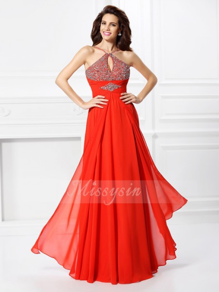 Sleeveless Other Chiffon Long Red Dresses