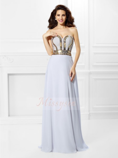 Empire Sleeveless Sweetheart Chiffon Long White Dresses