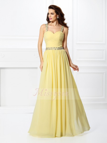 Sleeveless Sweetheart Chiffon Long Daffodil Dresses