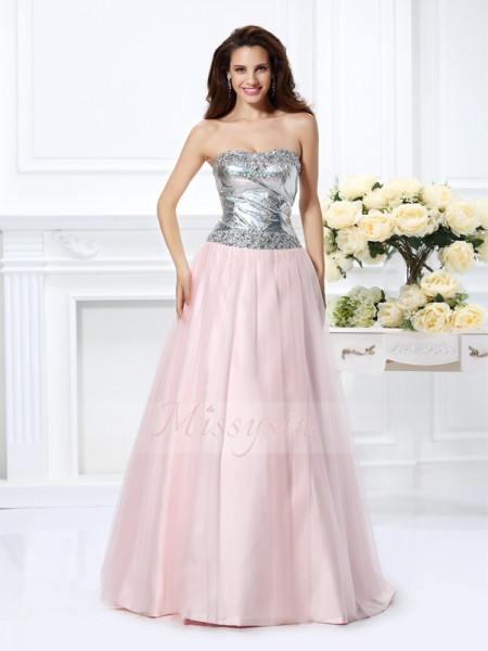 Ball Gown Sleeveless Sweetheart Satin Long Pearl Pink Dresses