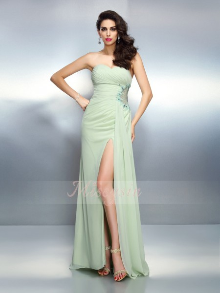 Sleeveless Sweetheart Chiffon Long Sage Dresses
