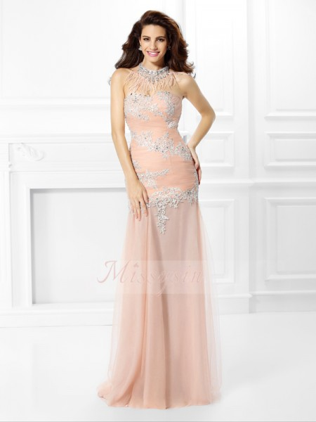 Sleeveless Sweetheart Chiffon Long Pink Dresses