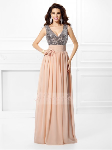 Sleeveless V-neck Chiffon Long Pearl Pink Dresses