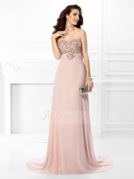 Sleeveless Sweetheart Chiffon Sweep/Brush Train Pearl Pink Dresses