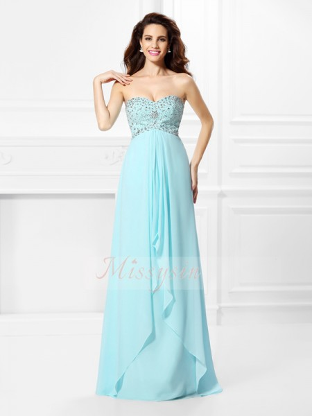 Sleeveless Sweetheart Chiffon Long Light Sky Blue Dresses