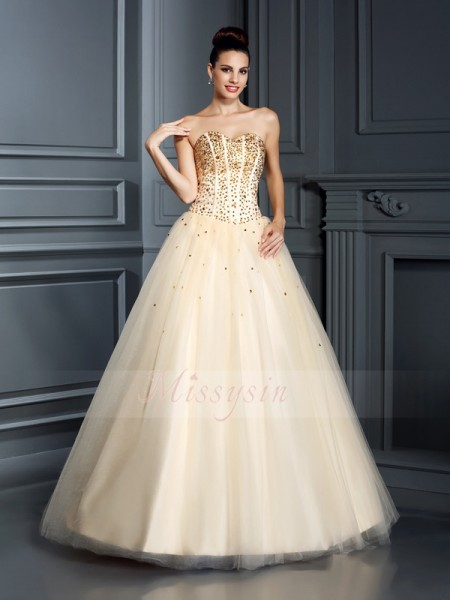 Ball Gown Sleeveless Sweetheart Satin Long Champagne Dresses