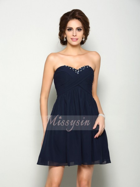 Sleeveless Sweetheart Chiffon Short/Mini Dark Navy Cocktail Dresses