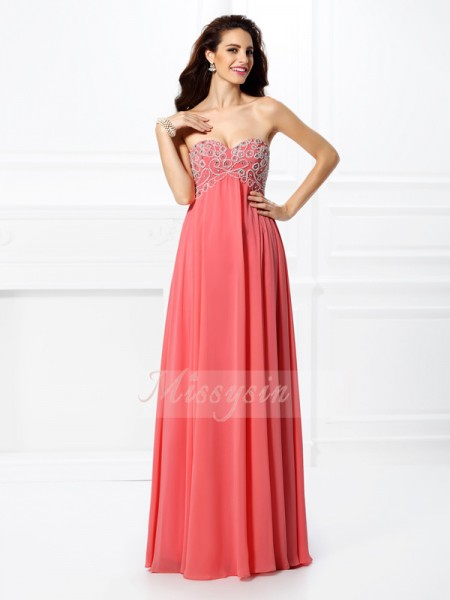Sleeveless Sweetheart Chiffon Long Watermelon Dresses