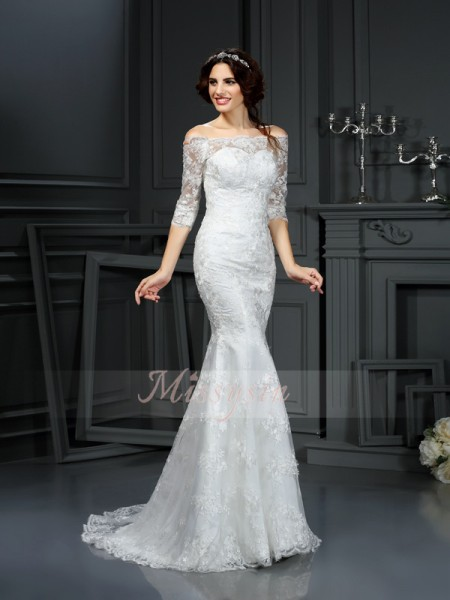 1/2 Sleeves Off-the-Shoulder Lace Sweep/Brush Train Ivory Wedding Dresses