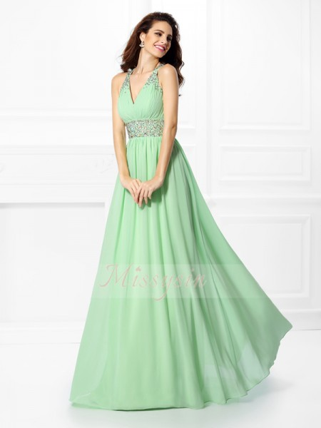 Sleeveless V-neck,Straps Chiffon Long Sage Dresses