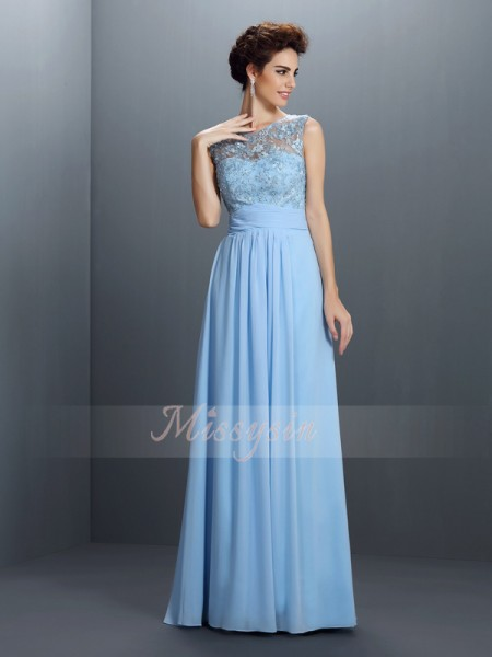 Sleeveless Bateau Chiffon Long Blue Dresses