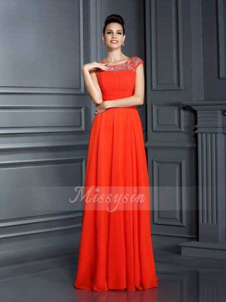 Sleeveless Bateau Chiffon Long Orange Dresses