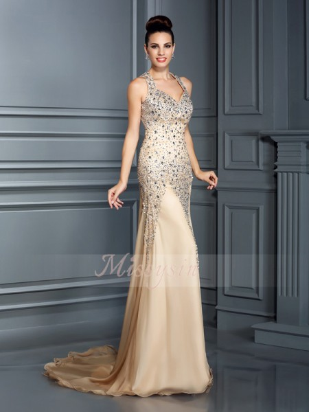 Sleeveless Straps Chiffon Court Train Champagne Dresses