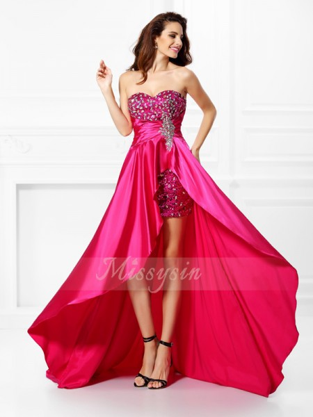 Sleeveless Sweetheart Elastic Woven Satin Asymmetrical Fuchsia Dresses